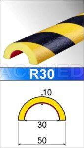 Paracolpi Flessibile di sicurezza a mezzaluna R30 e R50 - 1 metro