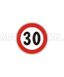 """Cartello """"Limite Massimo di Velocità 30 Km/h"""" - 60 cm - in metallo"""